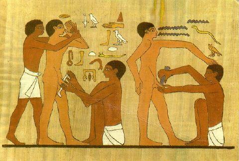 Circumcisión en un mural en Egipto